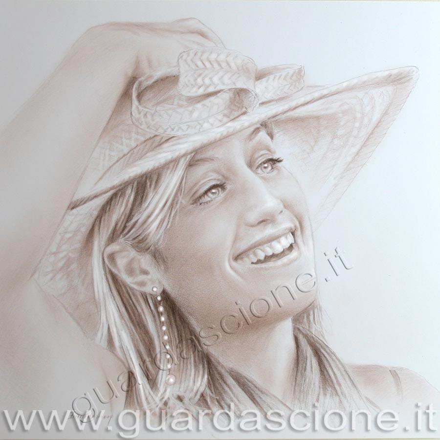 Ritratto di donna con cappello, seppia 40x40 copyright © dell'artista
