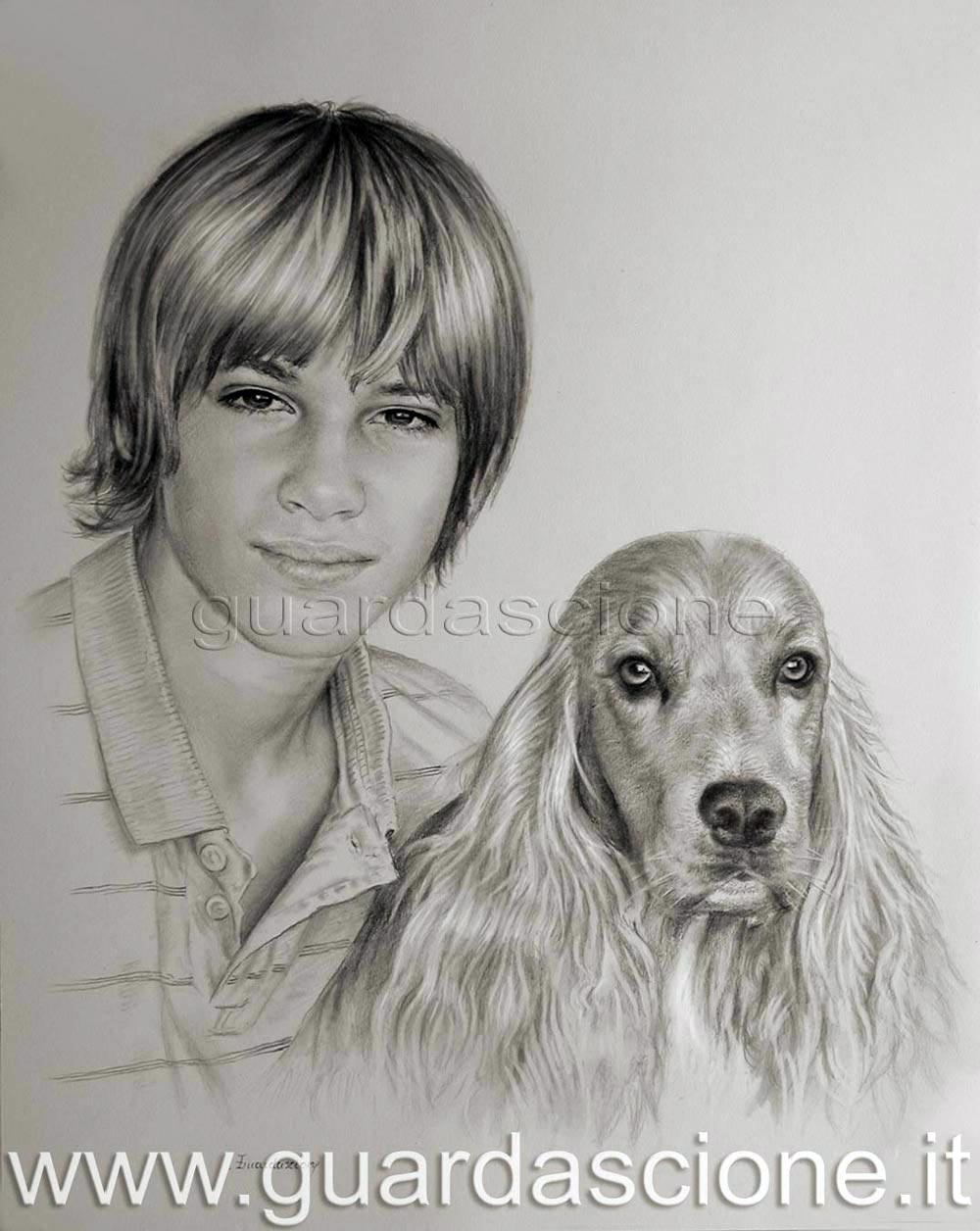 Quadri e disegni di animali dipinti arte cani e gatti for Disegni a matita di cani